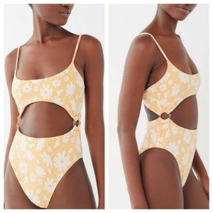 NWT UO Floral Cut Out Ring One Piece Swimsuit